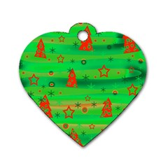 Green Xmas magic Dog Tag Heart (One Side)