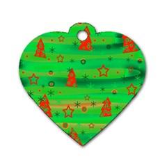 Green Xmas magic Dog Tag Heart (Two Sides)