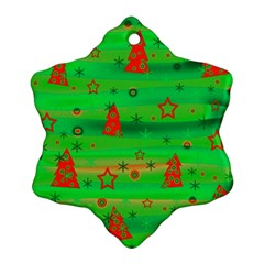 Green Xmas magic Snowflake Ornament (2-Side)