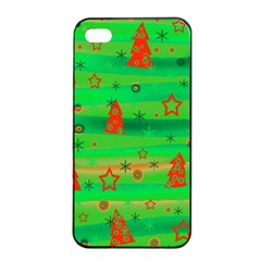 Green Xmas magic Apple iPhone 4/4s Seamless Case (Black)