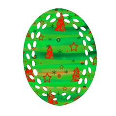 Green Xmas magic Ornament (Oval Filigree)
