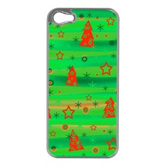 Green Xmas magic Apple iPhone 5 Case (Silver)