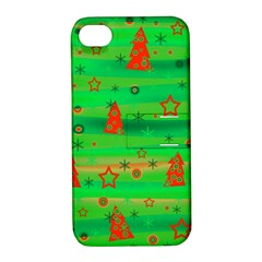 Green Xmas magic Apple iPhone 4/4S Hardshell Case with Stand