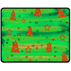 Green Xmas magic Double Sided Fleece Blanket (Medium)