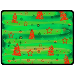 Green Xmas magic Double Sided Fleece Blanket (Large)