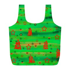 Green Xmas magic Full Print Recycle Bags (L)