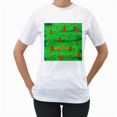 Green Xmas magic Women s T-Shirt (White)