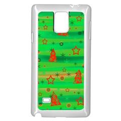 Green Xmas magic Samsung Galaxy Note 4 Case (White)