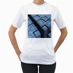 Grid Maths Geometry Design Pattern Women s T-Shirt (White) (Two Sided)