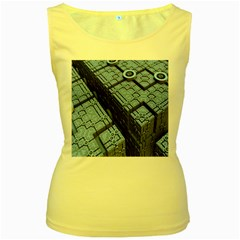 Grid Maths Geometry Design Pattern Women s Yellow Tank Top