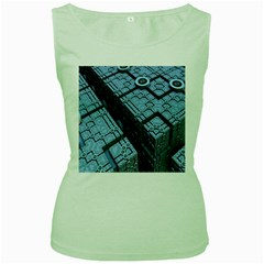 Grid Maths Geometry Design Pattern Women s Green Tank Top