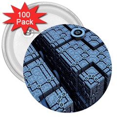 Grid Maths Geometry Design Pattern 3  Buttons (100 pack)