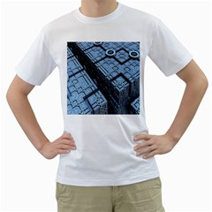 Grid Maths Geometry Design Pattern Men s T-Shirt (White) (Two Sided)