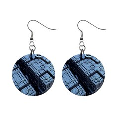 Grid Maths Geometry Design Pattern Mini Button Earrings