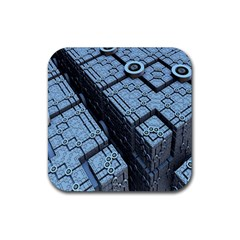 Grid Maths Geometry Design Pattern Rubber Square Coaster (4 pack)