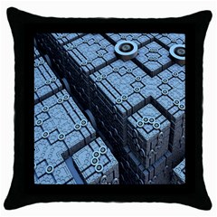Grid Maths Geometry Design Pattern Throw Pillow Case (Black)
