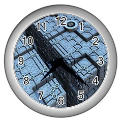 Grid Maths Geometry Design Pattern Wall Clocks (Silver)