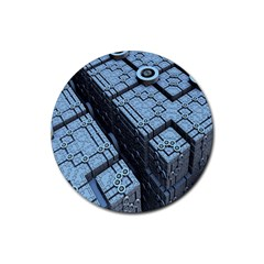 Grid Maths Geometry Design Pattern Rubber Round Coaster (4 pack)