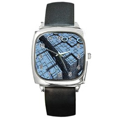 Grid Maths Geometry Design Pattern Square Metal Watch