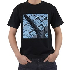Grid Maths Geometry Design Pattern Men s T-Shirt (Black) (Two Sided)