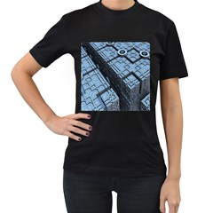 Grid Maths Geometry Design Pattern Women s T-Shirt (Black) (Two Sided)