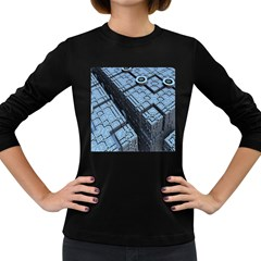 Grid Maths Geometry Design Pattern Women s Long Sleeve Dark T-Shirts