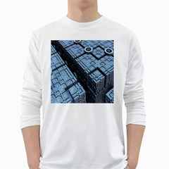 Grid Maths Geometry Design Pattern White Long Sleeve T-Shirts