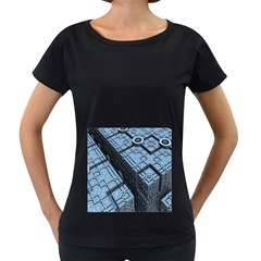 Grid Maths Geometry Design Pattern Women s Loose-Fit T-Shirt (Black)