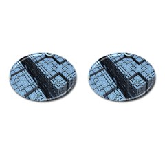 Grid Maths Geometry Design Pattern Cufflinks (Oval)