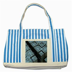 Grid Maths Geometry Design Pattern Striped Blue Tote Bag