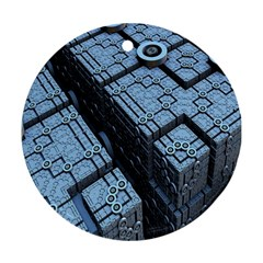 Grid Maths Geometry Design Pattern Round Ornament (Two Sides)