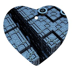 Grid Maths Geometry Design Pattern Heart Ornament (2 Sides)