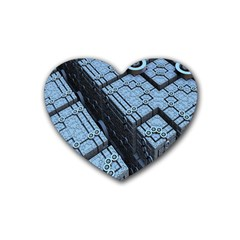 Grid Maths Geometry Design Pattern Rubber Coaster (Heart)