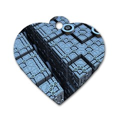 Grid Maths Geometry Design Pattern Dog Tag Heart (Two Sides)