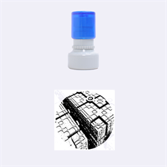 Grid Maths Geometry Design Pattern Rubber Round Stamps (Small)
