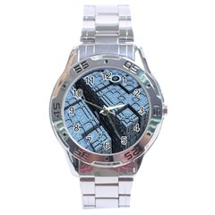 Grid Maths Geometry Design Pattern Stainless Steel Analogue Watch