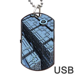Grid Maths Geometry Design Pattern Dog Tag USB Flash (One Side)