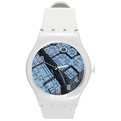 Grid Maths Geometry Design Pattern Round Plastic Sport Watch (M)