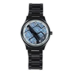 Grid Maths Geometry Design Pattern Stainless Steel Round Watch