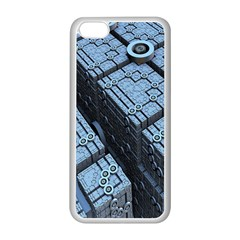 Grid Maths Geometry Design Pattern Apple iPhone 5C Seamless Case (White)