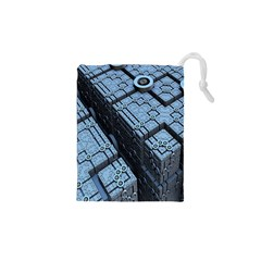 Grid Maths Geometry Design Pattern Drawstring Pouches (XS)