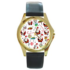 Xmas song Round Gold Metal Watch
