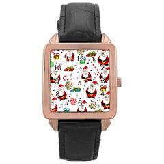 Xmas song Rose Gold Leather Watch