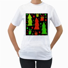 Merry Xmas Women s T-Shirt (White) (Two Sided)