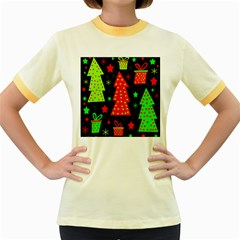 Merry Xmas Women s Fitted Ringer T-Shirts