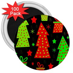 Merry Xmas 3  Magnets (100 pack)