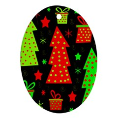 Merry Xmas Oval Ornament (Two Sides)