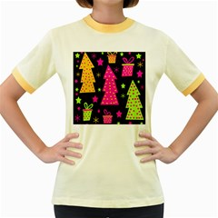 Colorful Xmas Women s Fitted Ringer T-Shirts