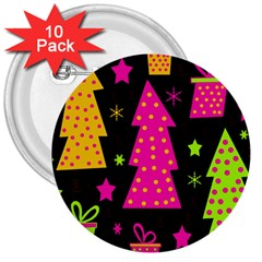 Colorful Xmas 3  Buttons (10 pack)