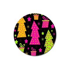 Colorful Xmas Magnet 3  (Round)